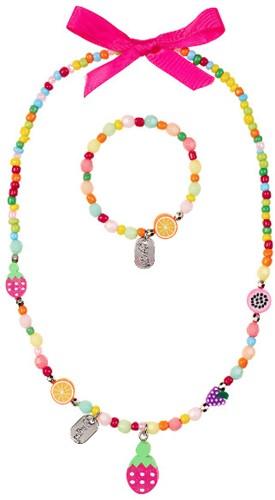 Souza - Sieraden - Necklace+bracelet Sammy, with fruits, multicolour