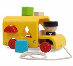 Plan Toys  houten leerspel Sorteer schoolbus