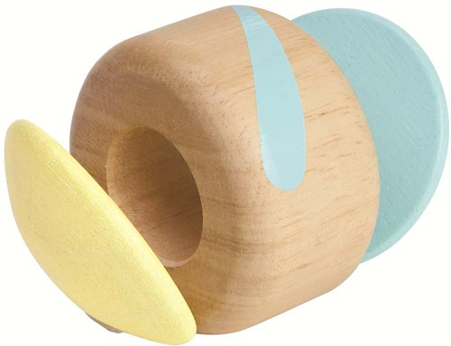 Plan Toys houten pastel rammelaar Klapper roller