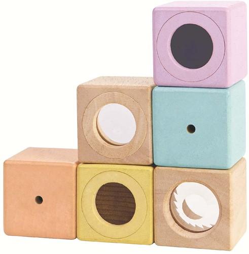 Plan Toys houten blokken Zintuigen