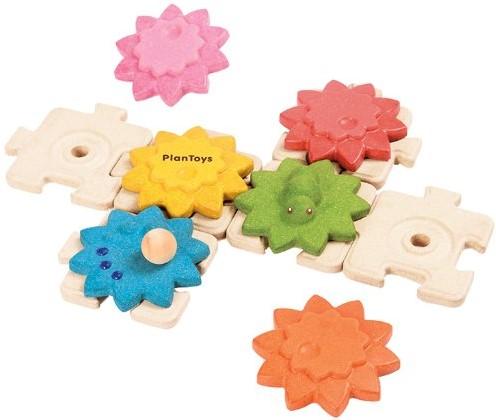 Plan Toys  houten leerspel Tandwielen en puzzels standaar
