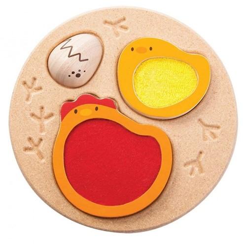 Plan Toys houten vormen- en voelpuzzel Kip - 3 stukjes