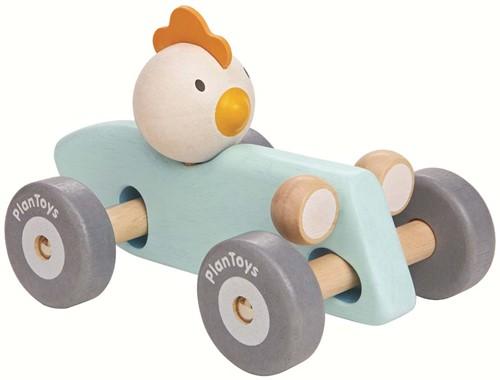 Plan Toys houten raceauto kip pastel