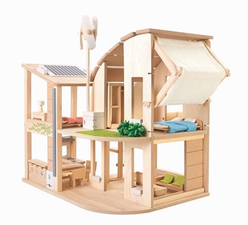 Plan Toys houten poppenhuis met meubels Duurzaam