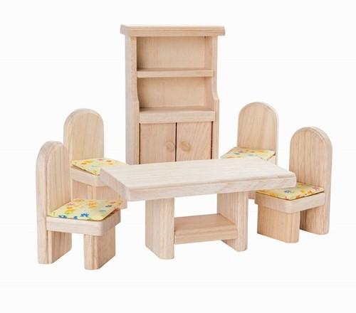 Plan Toys houten poppenhuismeubels klassieke Eetkamer