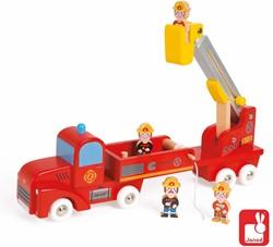 Janod  houten speelset Brandweerwagen groot