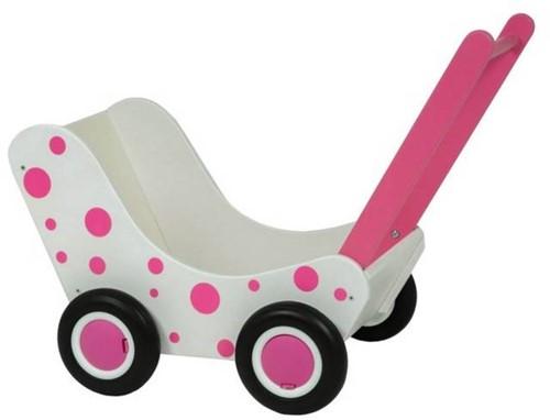 Van Dijk Poppenwagen wit en roze stippen (flatpacked)