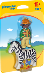 Playmobil 1.2.3 - 1.2.3 Verzorger met zebra  9257