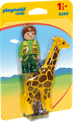 Playmobil 1.2.3 - Dierenverzorger met giraf  9380