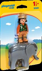 Playmobil 1.2.3 - Dierenverzorgster met olifant  9381