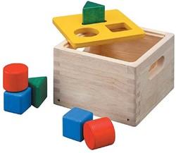 Plan Toys  houten leerspel Vormen sorteer box