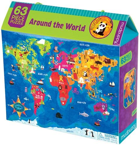 Mudpuppy Legpuzzel Rond de Wereld 63 stukjes