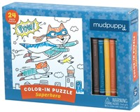 Mudpuppy Inkleurpuzzel Superheld 24 stukjes & 5 Crayons