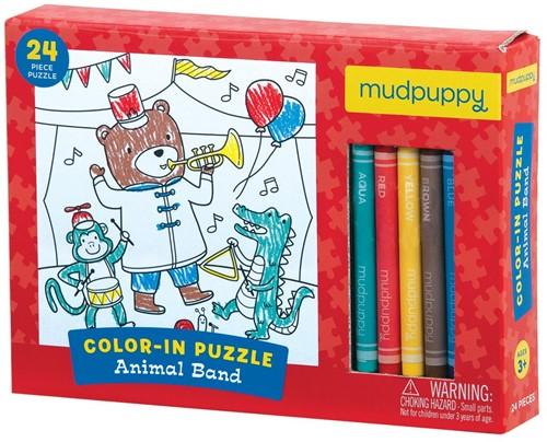 Mudpuppy Inkleurpuzzel Dieren Band 24 stukjes & 5 Crayons