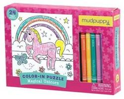 Mudpuppy Inkleurpuzzel Magische Eenhoorn 24 stukjes & 5 Crayons