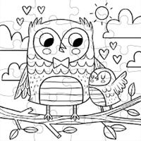 Mudpuppy Inkleurpuzzel Lieve Uilen 24 stukjes & 5 Crayons-2