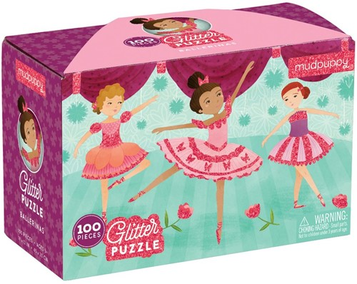 Mudpuppy 100 PC Glitter Puzzle - Ballerinas