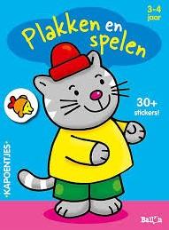 Kinderboeken  doeboek Plakken en spelen - Poes