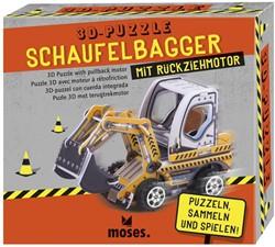 Moses 3D Puzzel bouwvoertuig met pullback motor 3 assorti