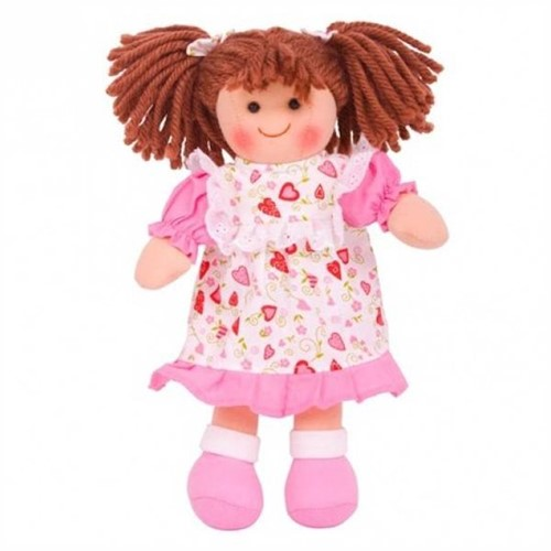 Bigjigs Amy - Brown Hair/Heart Dress with Pink Trim
