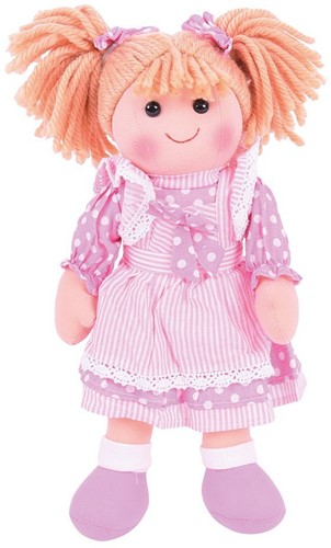 Bigjigs Anna - Blonde Hair/Pink Spotty Dress w/ Bow