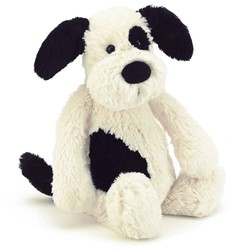 Jellycat Bashful Black & Cream Puppy Small - 18cm