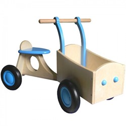 Van Dijk Toys houten Bakfiets lichtblauw