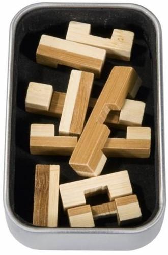 Fridolin houten puzzelspel IQ test 2 kleuren bamboe 4