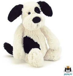 Jellycat Bashful Black & Cream Puppy Medium - 31cm