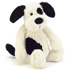 Jellycat Bashful Zwart & Room Kleurig Puppy Medium - 31cm