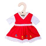 Bigjigs Red Dress with Floral Trim - Medium