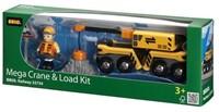 Brio  houten treinwagon Mega kraan en laad wagon 33734