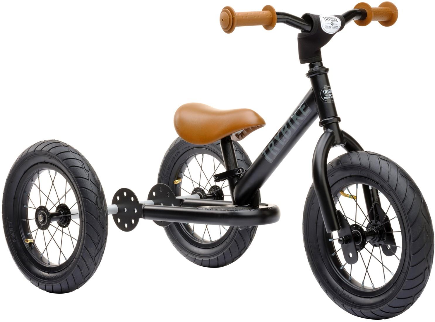 trybike loopfiets 2 in 1 staal zwart met bruine handvatten en zadelLoopfietsen #3
