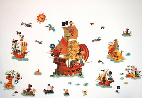Djeco  muurdecoratie Muursticker Piraat-1