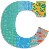 Djeco houten letter C - Peacock