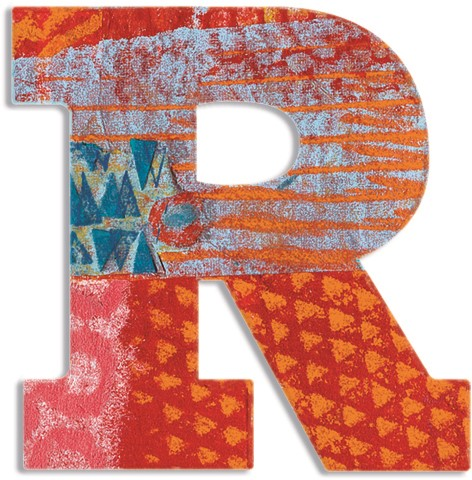 Djeco houten letter R - Peacock