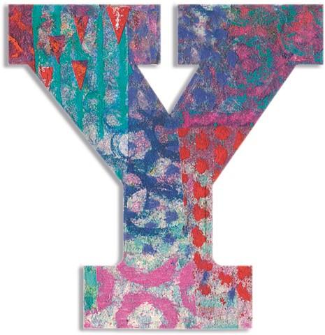 Djeco houten letter Y - Peacock