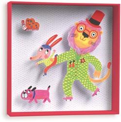 Djeco 3d schilderij Lion - 21x21x4cm
