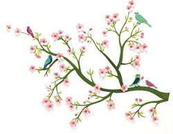 Djeco muursticker 3d Cherry tree in bloom