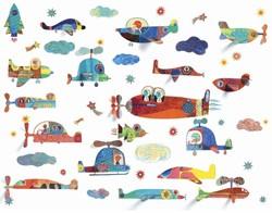 Djeco muursticker Vliegtuigen