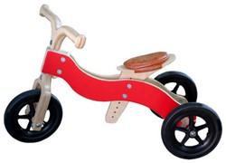 Van Dijk Toys houten loopfiets Dike-Trike rood 2 in 1