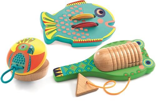 Djeco 3 houten muziekinstumenten Cymbal-castanet-guiro