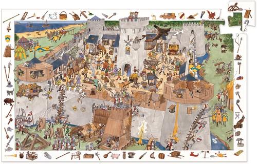 Djeco puzzel Aanval op het kasteel - 100 stukjes