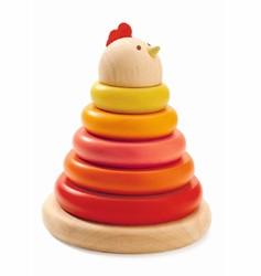 Djeco houten stapeltoren moeder kip