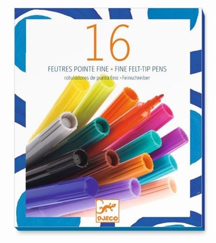 Djeco viltstiften 16 thin markers