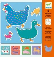 Djeco  knutselspullen Tekensjablonen Boerderij dieren-3