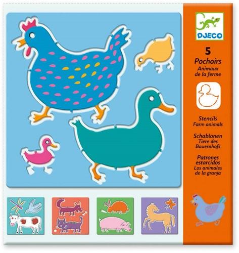 Djeco  knutselspullen Tekensjablonen Boerderij dieren-1