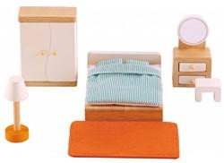Hape houten poppenhuis meubels Ouderslaapkamer