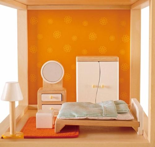 Hape houten poppenhuis meubels Ouderslaapkamer-2