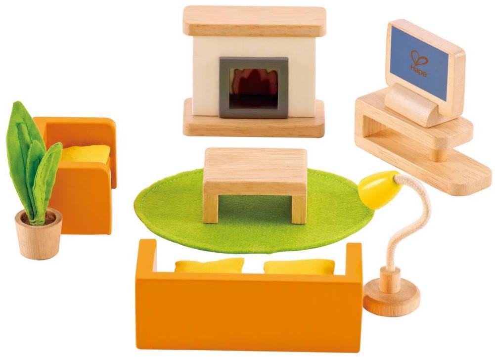 Woonkamer Houten Meubels : Hape houten poppenhuis meubels woonkamer bij planet happy